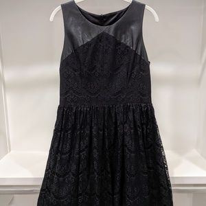 Jessica Simpson Faux Leather & Lace Cocktail Dress